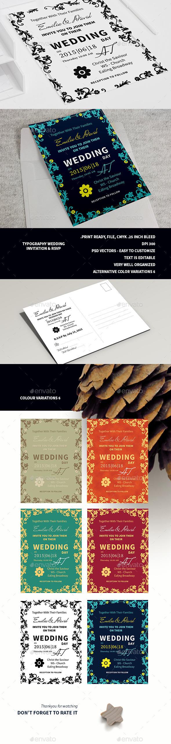 Typography Wedding Invitation & RSVP  - Weddings Cards & Invites