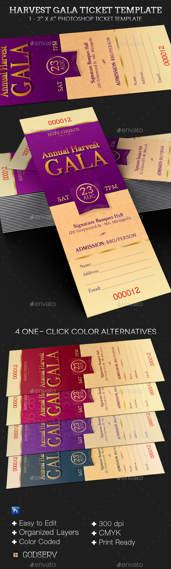 Harvest Gala Ticket Template - Miscellaneous Print Templates