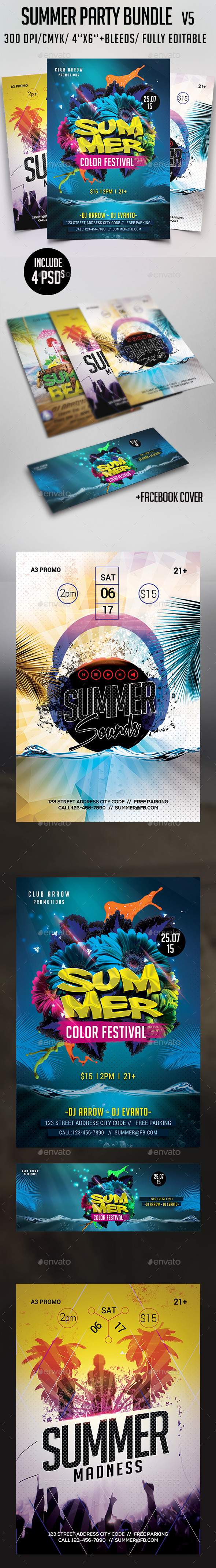 Summer Party Flyer Bundle V5 - Clubs & Parties Events