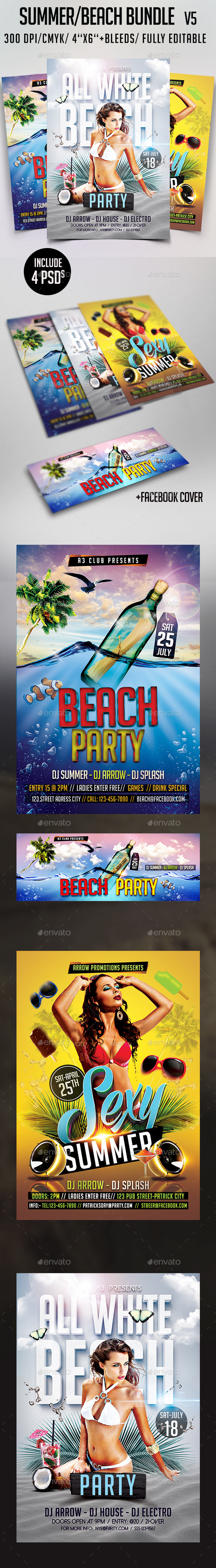 Summer Beach Party Bundle V6 - Clubs & Parties Events