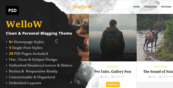Wellow – Clean & Personal Blogging PSD Template