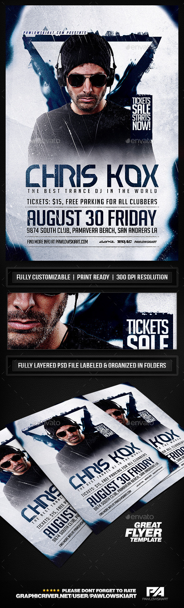 DJ Flyer v2 PSD Template  - Clubs & Parties Events