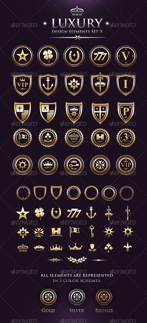 Vector Luxury VIP Design Elements Set 3 - Decorative Symbols Decorative