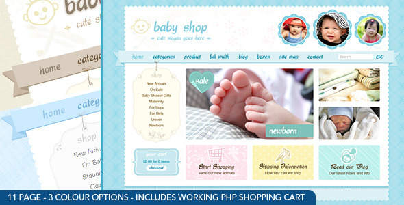 Cute & Sweet – 3 Color – HTML & PHP Shopping Cart