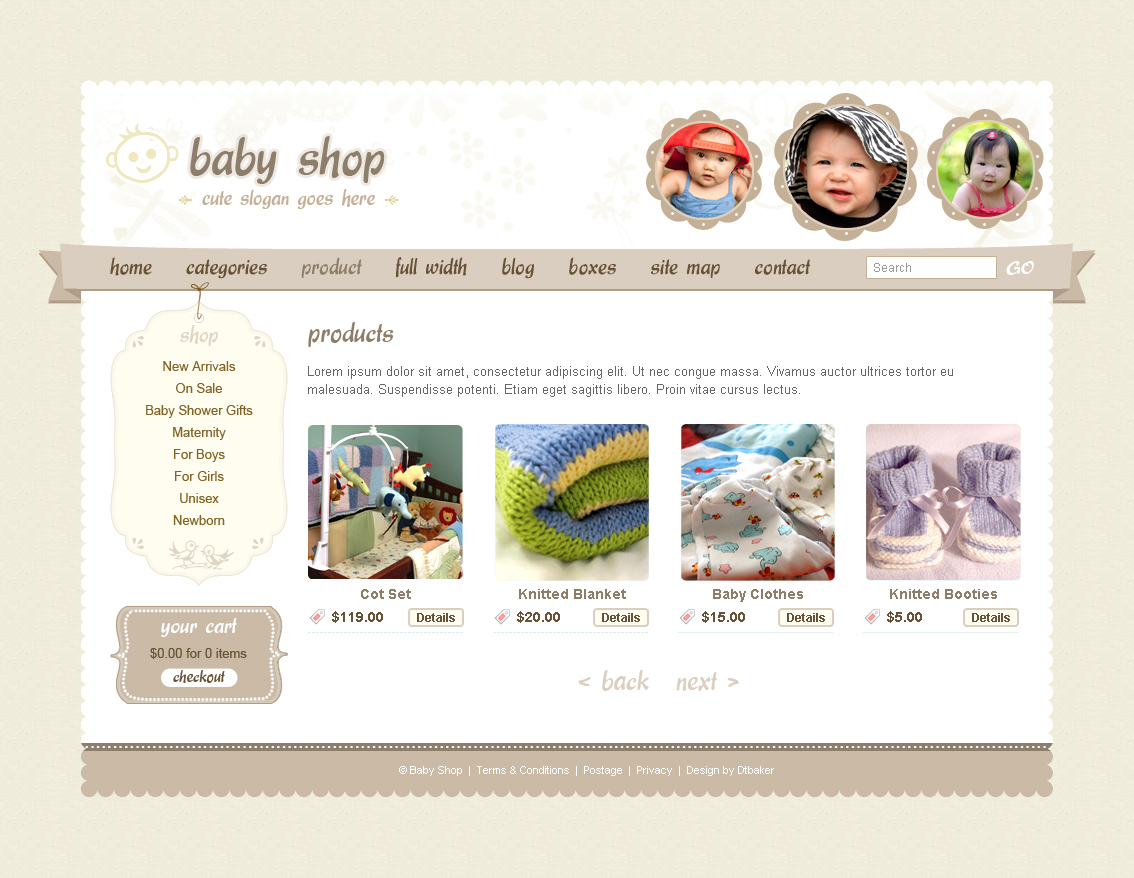 Cute Sweet 3 Color Html Php Shopping Cart By Dtbaker