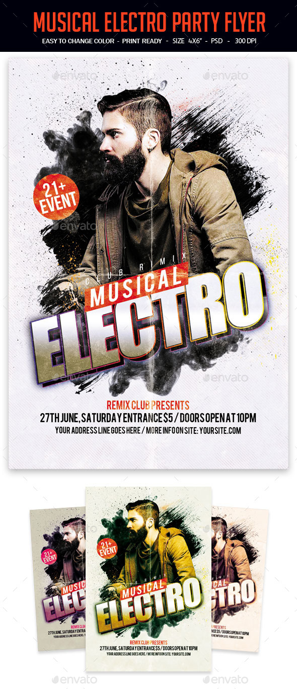 Musical Electro Party Flyer - Clubs & Parties Events