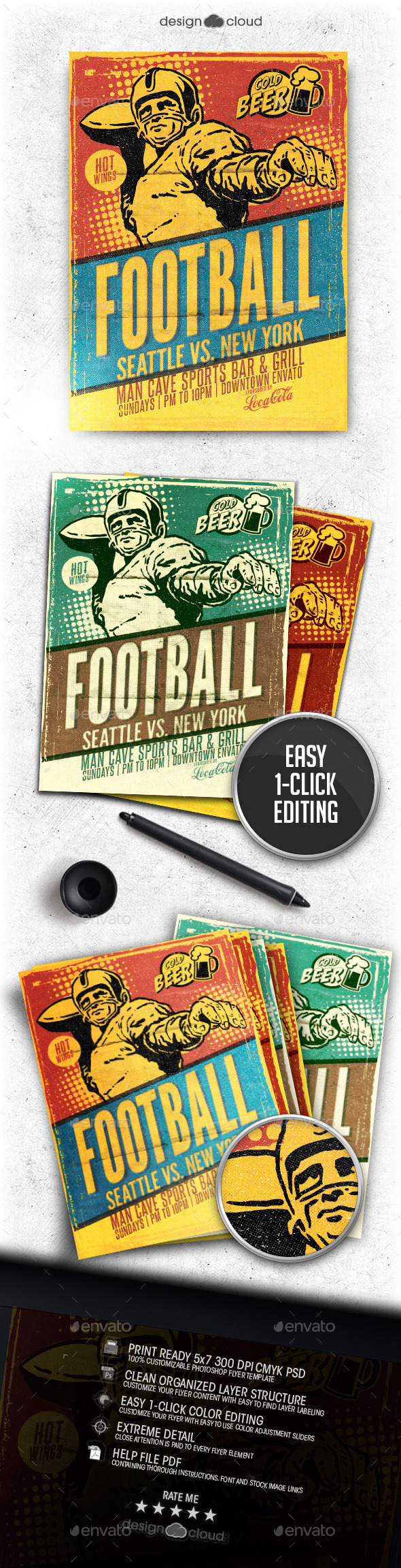 Retro Football Flyer Template - Sports Events
