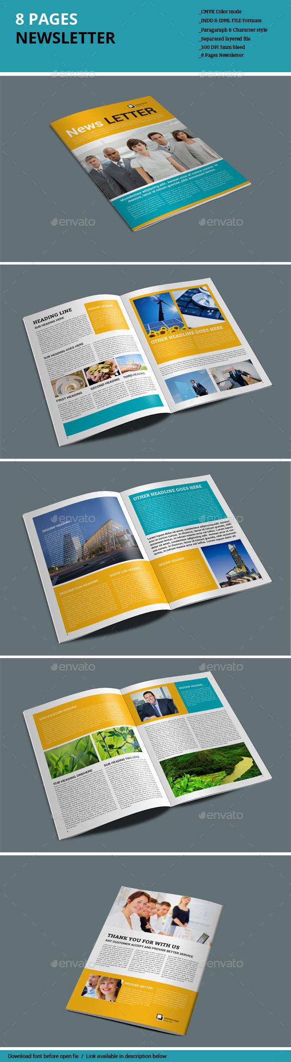 8 Pages Newsletter - Newsletters Print Templates