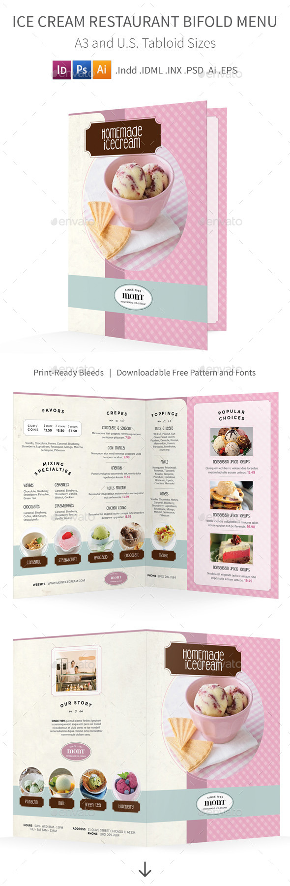 Ice Cream Restaurant Bifold / Halffold Menu - Food Menus Print Templates