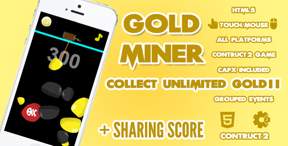 Gold Miner Game + Share Score
