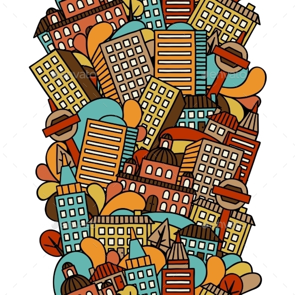 Town Seamless Pattern With Hand Drawn Houses - Travel Conceptual