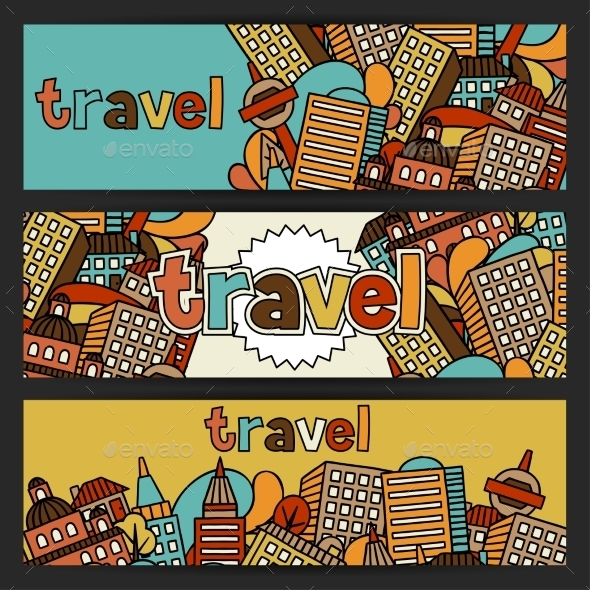 Town Banners Design With Hand Drawn Houses - Travel Conceptual