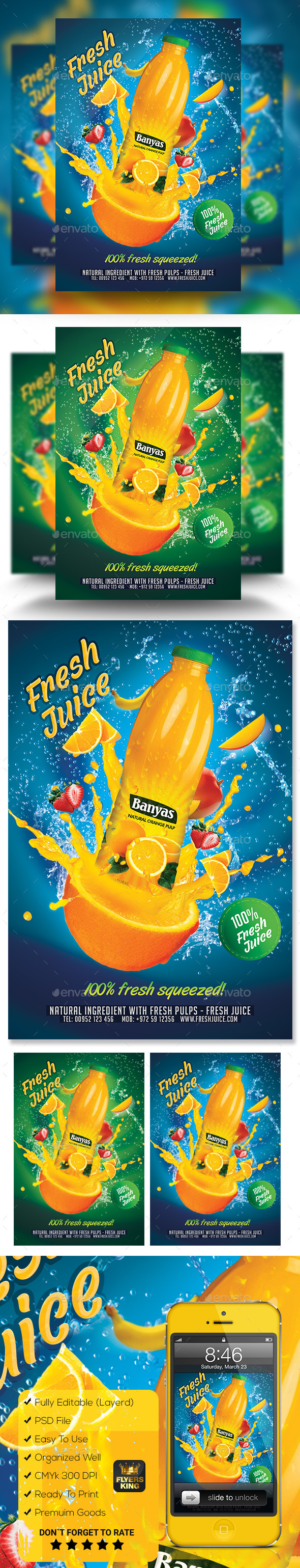 Fresh Juice Poster Flyer