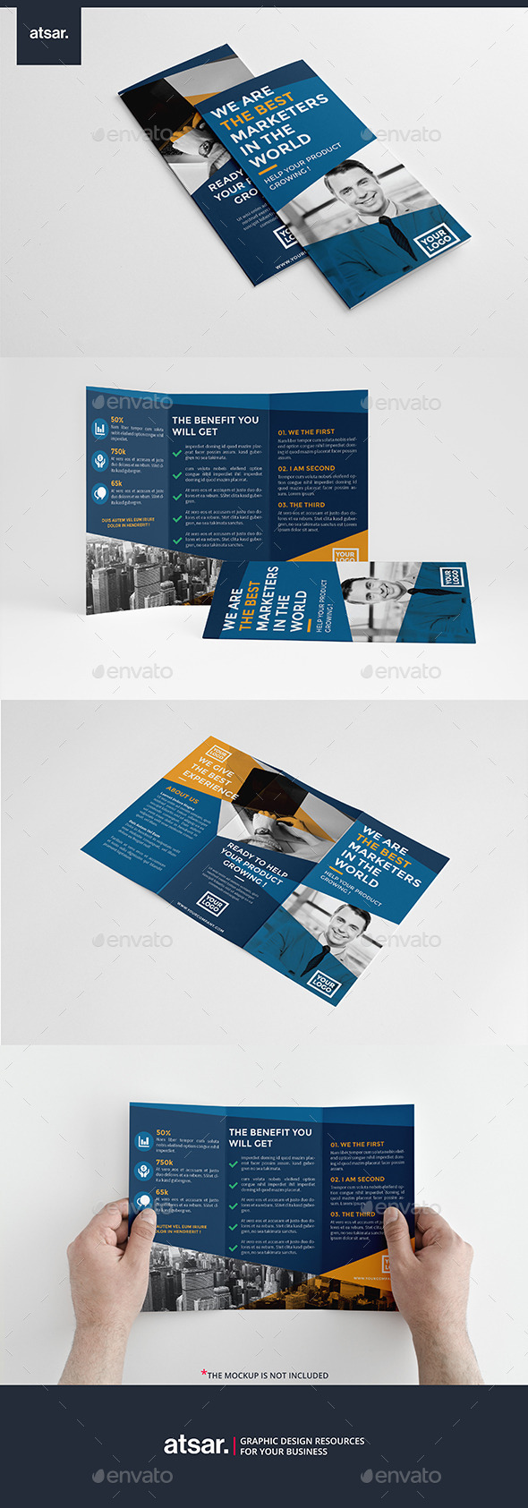 Simple Blue Trifold - Corporate Brochures