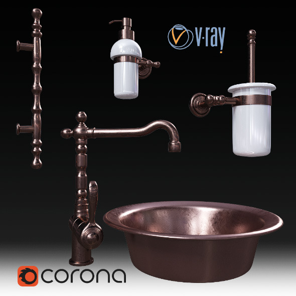 Set for bathrooms Migliore and faucet Fiore Jafar - 3DOcean Item for Sale