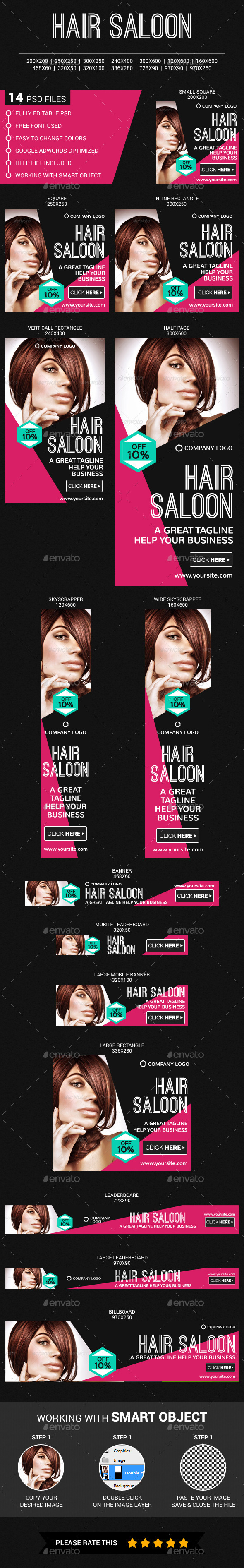 Hair Saloon - Banners & Ads Web Elements