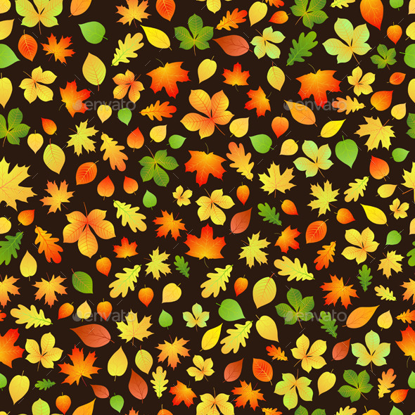 Seamless Pattern Of Autumn Leaves - Patterns Decorative
