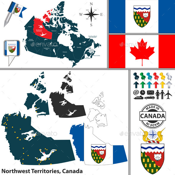 Map of Northwest Territories, Canada - Travel Conceptual