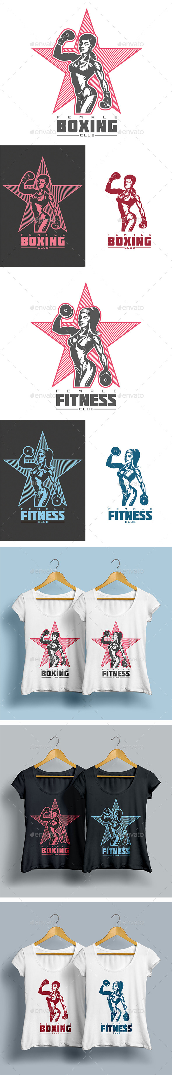 Female Boxing and Fitness T-shirts Templates