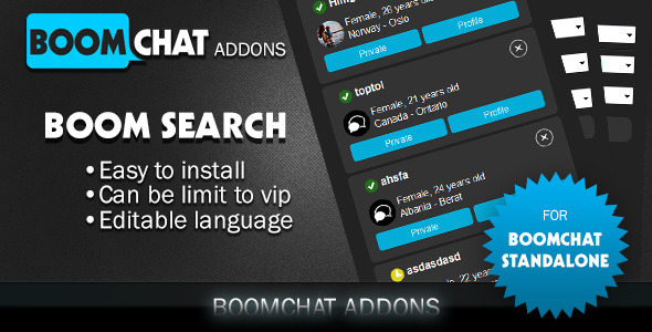 Boom search addon for Boomchat php/ajax chat - CodeCanyon Item for Sale