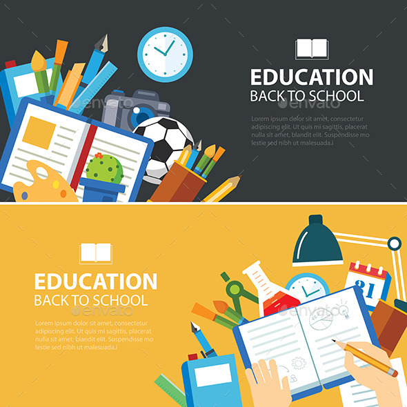 Education and Back to School Banner Concept - Objects Vectors