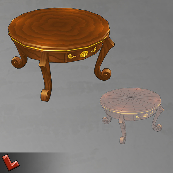 Hand-painted table - 3DOcean Item for Sale