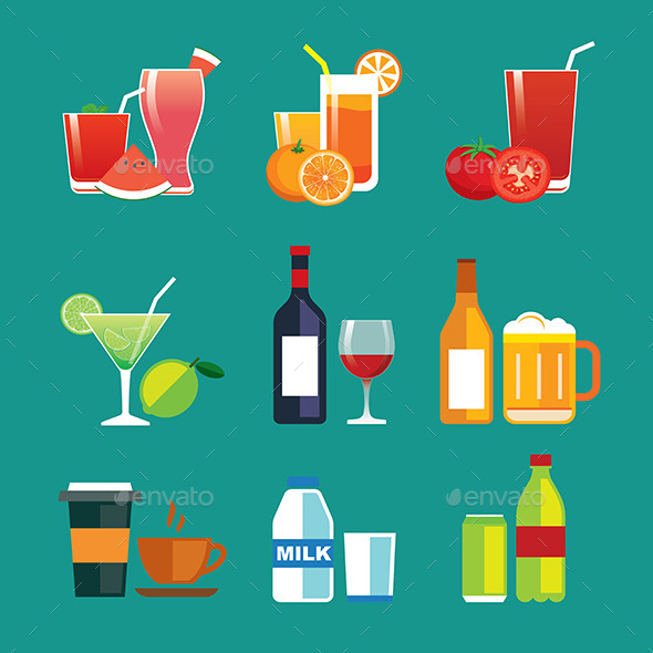 Drinks and Beverages Flat Design Icon Set - Food Objects