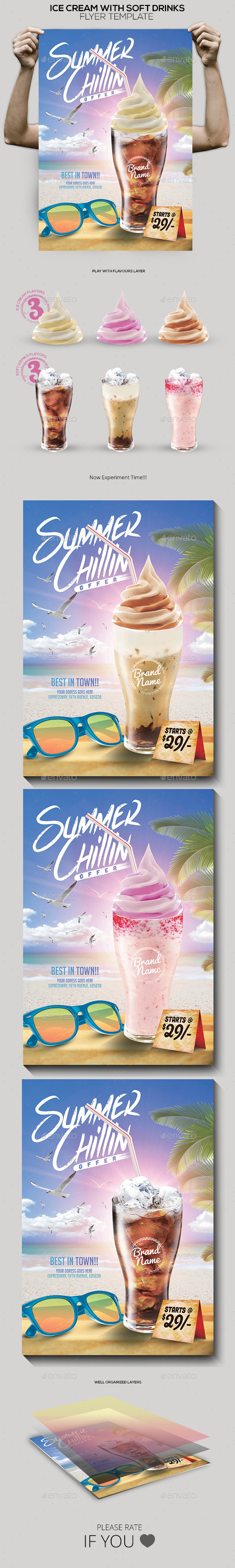 Ice Cream with Soft Drink Offer Poster - Restaurant Flyers