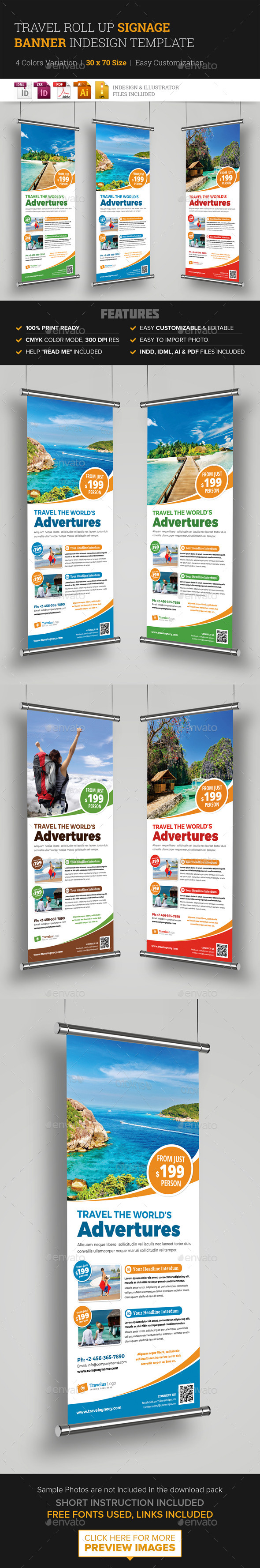 Travel Roll Up Banner Signage InDesign Template  - Signage Print Templates