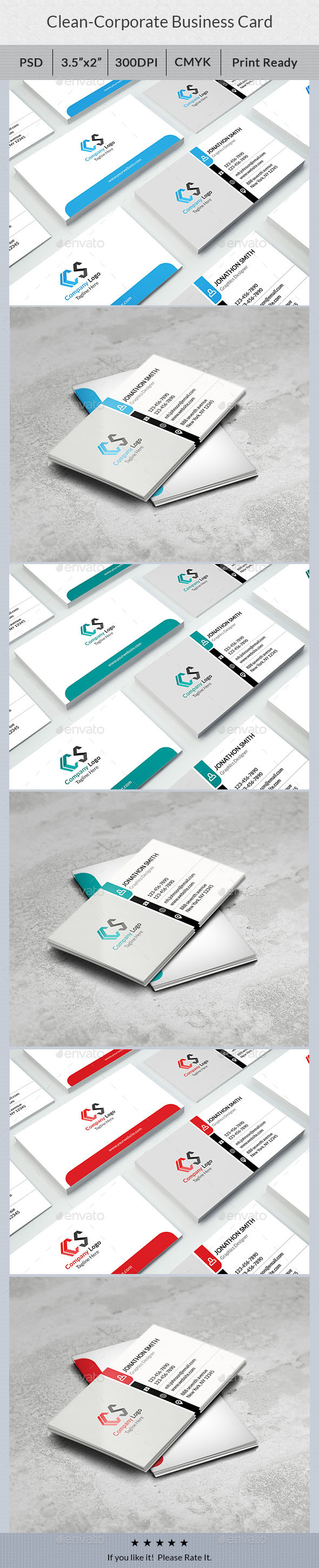 Clean - Corporate Business Card - Corporate Business Cards