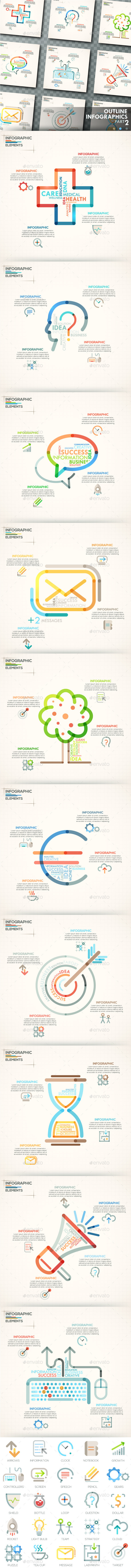 Outline Infographics. Part 2 (+25 Icons) - Infographics
