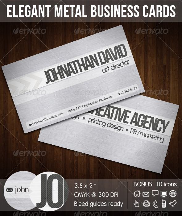Elegant Metal Corporate Business Card - Creative Business Cards