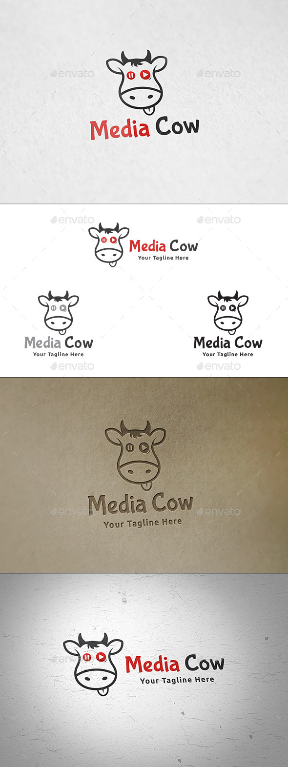 Media Cow Logo Template