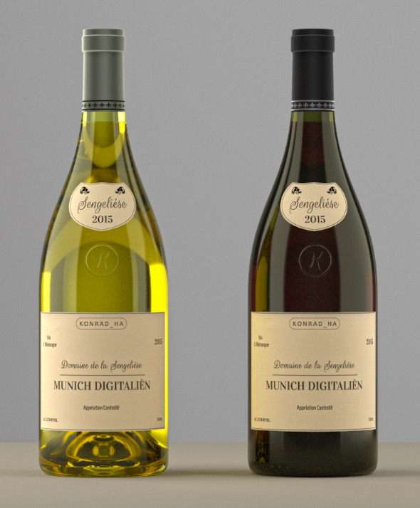 Photoreal Wine Bottles (low shoulder) - 3DOcean Item for Sale
