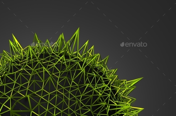 Abstract 3D Rendering Of Green Chaotic Structure - Tech / Futuristic Backgrounds