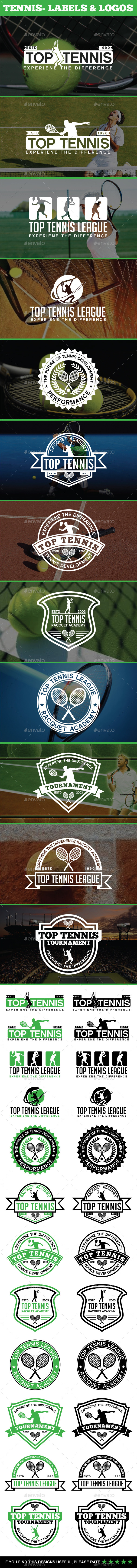 12 Tennis - Labels & Logos - Badges & Stickers Web Elements