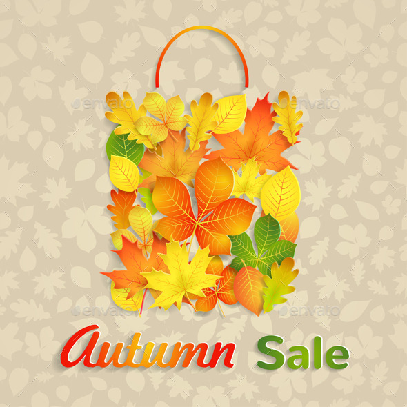 Sale Bag Of Autumn Leaves - Retail Commercial / Shopping