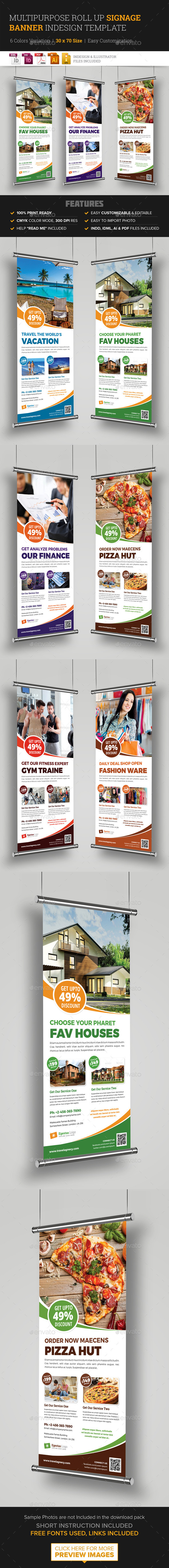 Multipurpose Roll Up Banner Signage InDesign