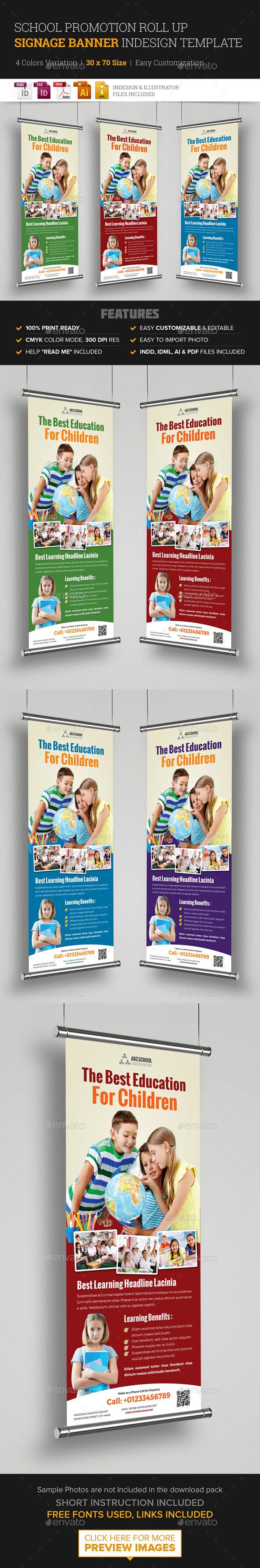 School Promotion Roll Up Banner Signage InDesign - Signage Print Templates
