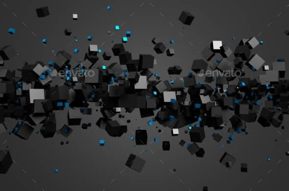 Abstract 3D Rendering Of Flying Cubes - 3D Backgrounds