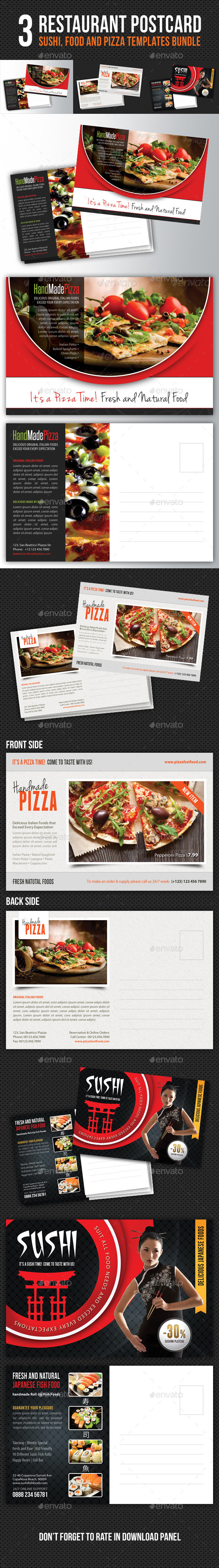 3 in 1 Restaurant Food Postcard Bundle - Cards & Invites Print Templates