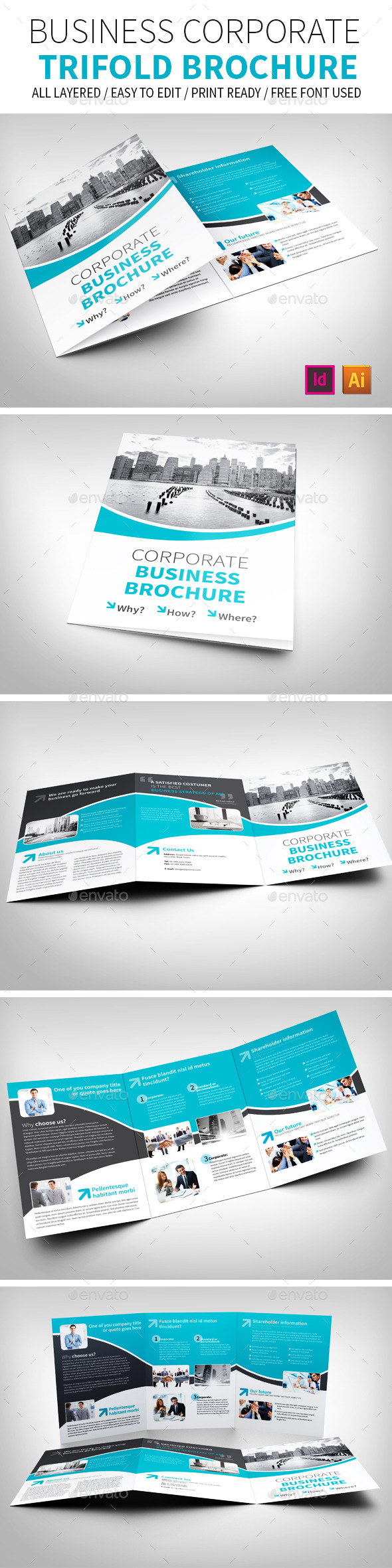 Business Corporate Trifold Brochure - Brochures Print Templates