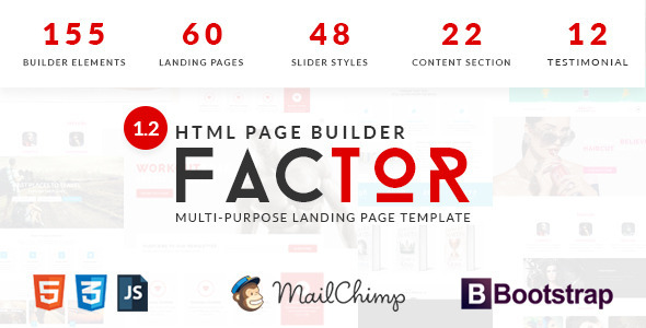 Factor – Multipurpose Landing Page Template With Page Builder