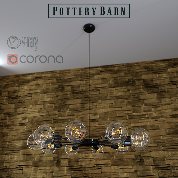 Mid century orb chandelier by Pottery Barn - 3DOcean Item for Sale