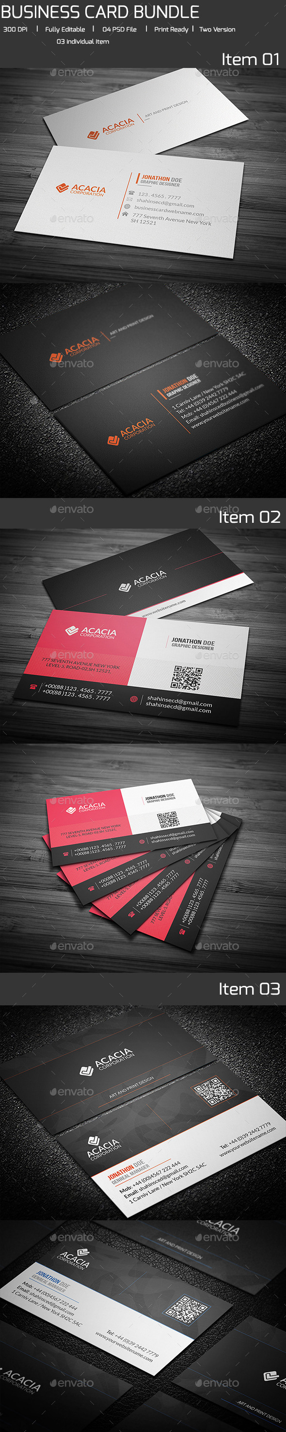 Bundle-03 Business Card (3 in 1) - Corporate Business Cards