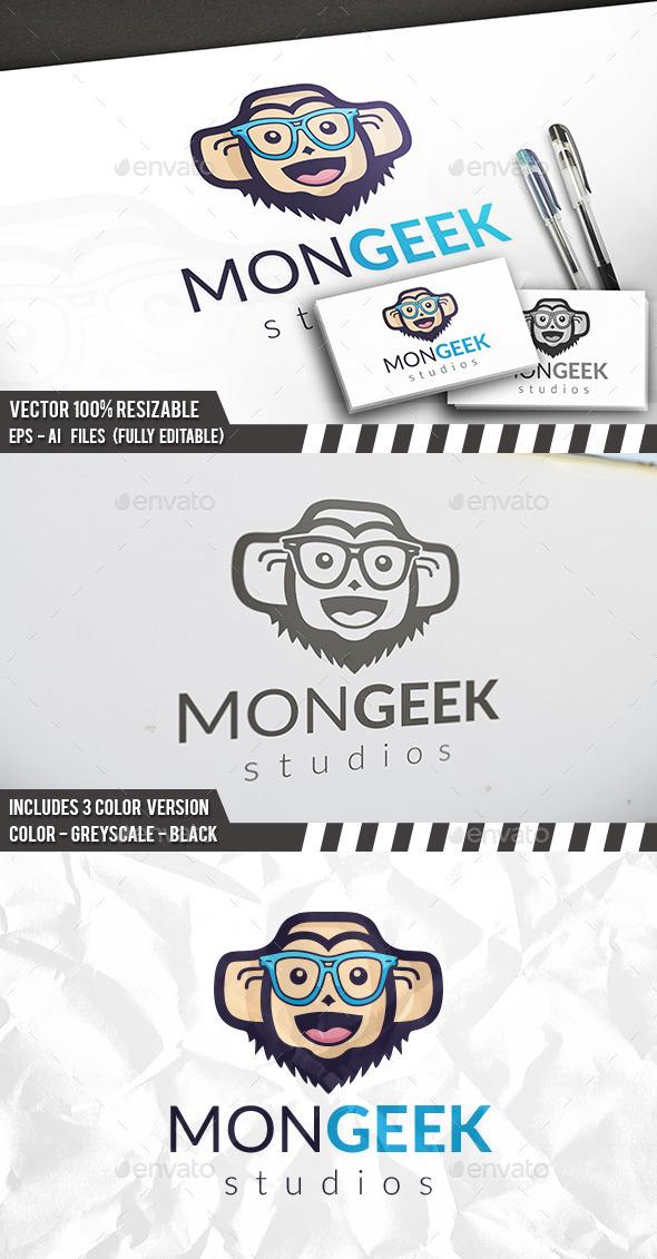 Gorilla Geek Face Logo - Animals Logo Templates
