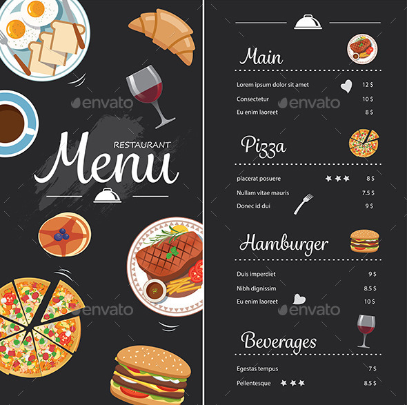 Restaurant Food Menu Design With Chalkboard  - Food Objects