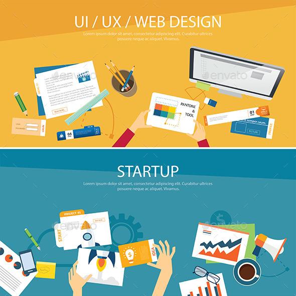 Web Design and Startup Concept Flat Design - Web Technology