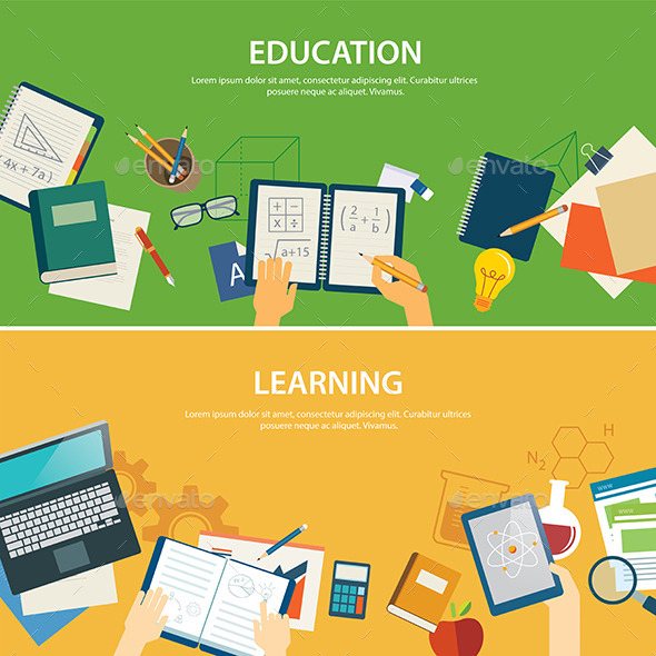 Education and Learning Banner Flat Design Template - Miscellaneous Conceptual