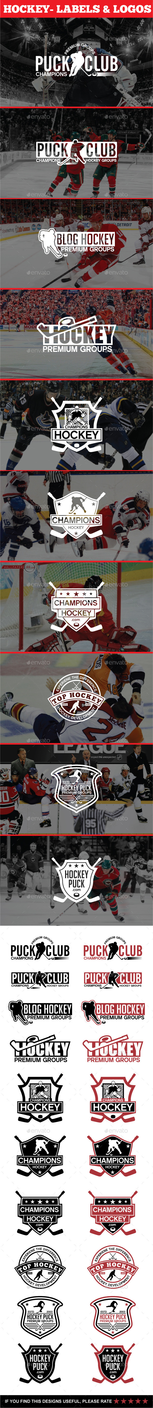 Hockey - Labels & Logos - Badges & Stickers Web Elements